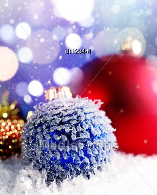 Under The Northern Lights. Christmas Still Life On The Snow Stock Photo