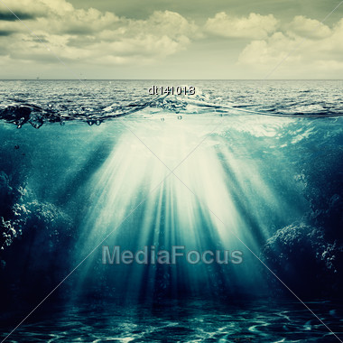 Under The Ocean Surface, Abstract Natural Backgrounds Stock Photo