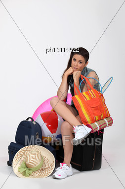 Unhappy Woman Going Away On Vacation Stock Photo