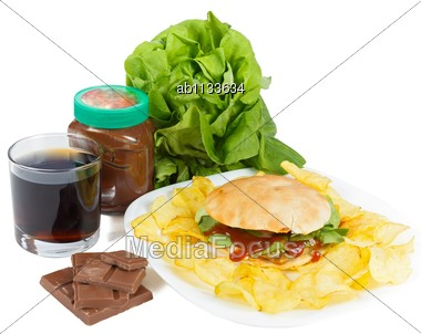 Unhealthy Lifestyle Concept - The Cause Of Obesity Stock Photo