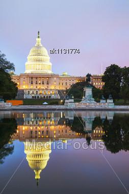 United States Capitol Building In Washington, DC At Sunset Stock Photo