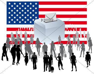 Urn On An American Flag With A Crowd Of People For Democratic Elections U.S. Political Party Stock Photo
