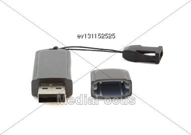 USB Flash Card . Isolated Over White Stock Photo