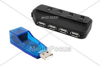 USB Hub And Modem Isolated On White Background. Stock Photo