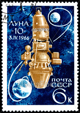 "USSR - CIRCA 1966: A Postage Stamp Shows The Spaceship Luna-10 And Inscription ""Luna-10, 3. IV.1966"", Circa 1966 Stock Photo"