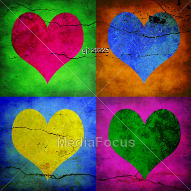 Valentine Card. Four Hearts With Different Colors Stock Photo