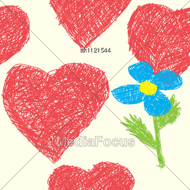 Valentine's Day Abstract Background With Hearts As Picture Of Baby. Seamless Pattern. Stock Photo