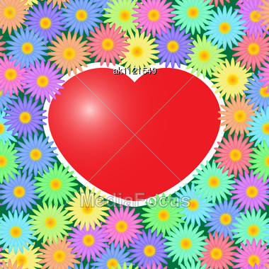 Valentine's Day Abstract Background With Red Hearts And Flowers. Seamless Pattern. Stock Photo
