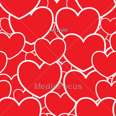 Valentine's Day Abstract Red Background With Hearts. Seamless Pattern. Stock Photo