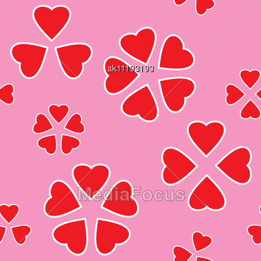Valentine's Day Abstract Seamless Background With Red Hearts. Stock Photo