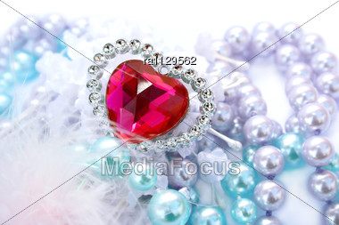 Valentine Red Heart,colorful Pearls And Feather Stock Photo