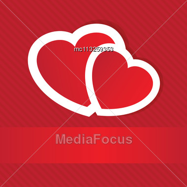 Valentines Cards With Two Hearts And Place For Your Text Stock Photo