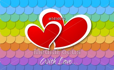 Valentines Day Abstract Background. Two Vector Paper Hearts Stock Photo