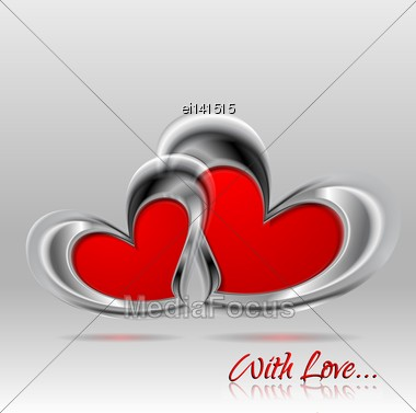 Valentines Day Abstract Background. Two Vector Glossy Hearts Stock Photo
