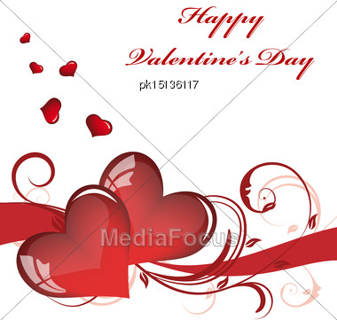 Valentines Day Card With Sign Of Heart. Vector Illustration With Transparency. EPS 10 Stock Photo