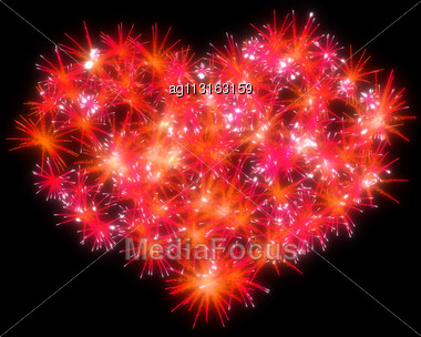 Valentines Day Red Fireworks Heart Shape Over Black Stock Photo