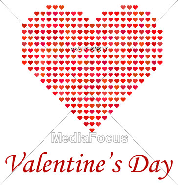 Valentines Day Romantic Banner With Red Heart On White Background Stock Photo