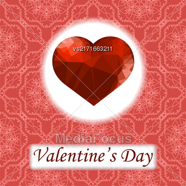 Valentines Day Romantic Greeting Card With Polygonal Heart On Red Ornamental Background Stock Photo