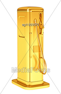 Valuable Gasoline: Golden Fueling Pump Isolated On White. Large Resolution Stock Photo