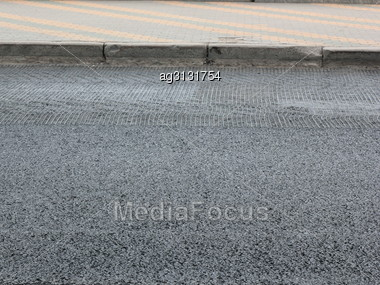 Valves In The Bitumen Impregnation Will Have Another Layer Of Asphalt Stock Photo