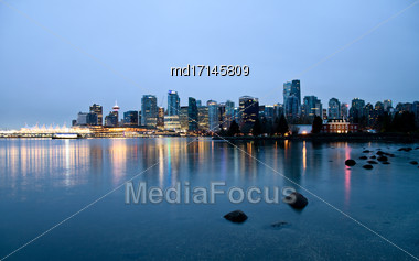 Vancouver Skyline Canada Downtown West End City Stock Photo