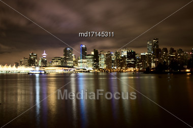 Vancouver Skyline Canada Dwntown Night Photography Stock Photo