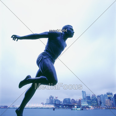 Vancouver, Statue Of The Harry Jerome, Stanley Park, Canada Stock Photo