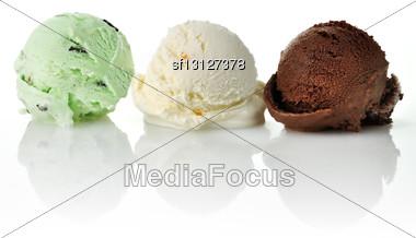 Vanilla , Mint And Chocolate Ice Cream Scoops Stock Photo
