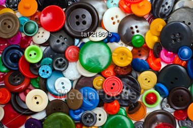 Variety Of Multi-colored Old Buttons Stock Photo