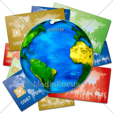 Various Bank Credit Cards On A Globe Stock Photo