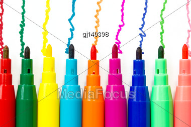 Various Color Felt-tip Pens Isolated On White Background Stock Photo