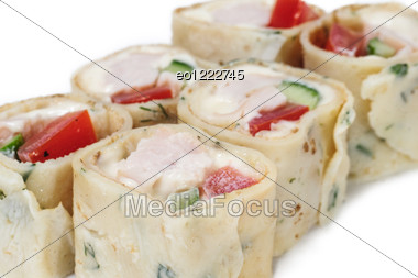 Various Kinds Of Sushi And Sashimi Stock Photo
