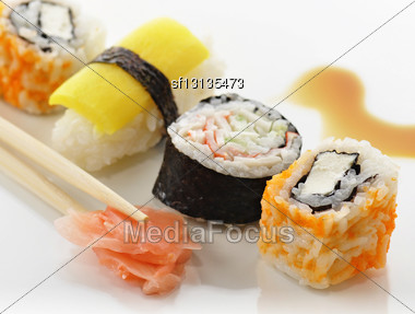 Various Of Sushi Close Up Stock Photo