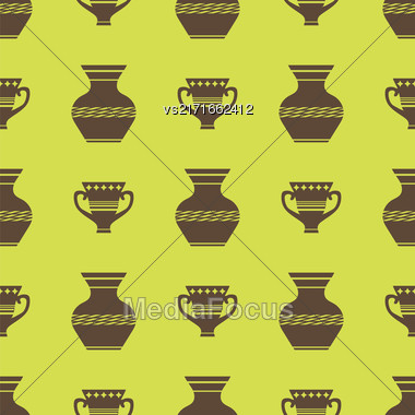 Vases Silhouettes Seamless Pattern On Yellow Background Stock Photo