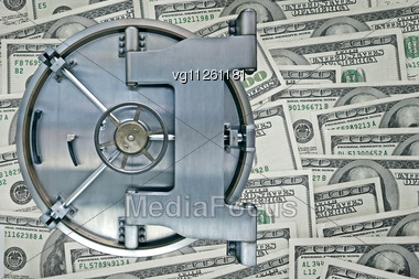 Vault Safe Door Over Hundred Dollars Bills Background Stock Photo