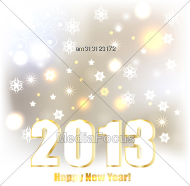 2013 Greeting Card With Shiny Stars And Snowflakes, Eps 10 Fully Editable File With Transparency Effects Stock Photo