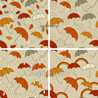 Autumn Seamless Patterns With Umbrellas And Autumn Leaves, Rain Drops, Rainbows Or Abstract Spirals, Fully Editable Eps 8 File With Clipping Masks And Patterns In Swatch Menu Stock Photo