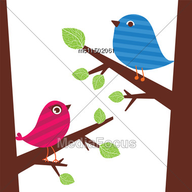 Vector Backgrounds With Couple Of Cute Birds On The Tree Branch. Cute Vector Illustration For Greeting Card, Invitetion Or Wallpaper Design Stock Photo