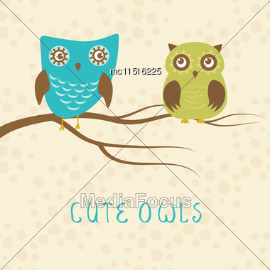 Vector Backgrounds With Couple Of Owls On The Tree Branch. Cute Vector Illustration For Greeting Card, Invitetion Or Wallpaper Design Stock Photo