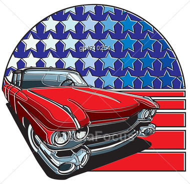 Vector Badge Executed In Retro Print Style With Colors Misregistration Effect On The Background Of American Symbolism. Easily Edit: File Is Divided Into Logical Layers And Groups. File Doesn't Contain Stock Photo