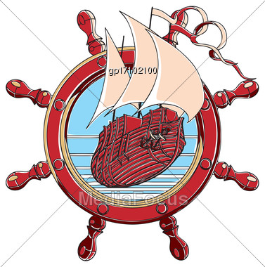 Vector Badge With Sail Ship And Steering Wheel, Executed In Retro Print Style With Colors Misregistration Effect. Easily Edit: File Is Divided Into Logical Layers And Groups. File Doesn't Contains Gra Stock Photo