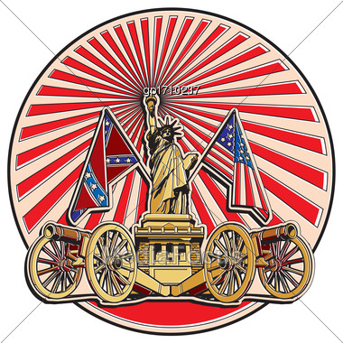 Vector Badge On Theme Of American History With Two Guns And Statue Of Liberty, Executed In Retro Print Style With Colors Misregistration Effect. Easily Edit: File Is Divided Into Logical Layers And Gr Stock Photo