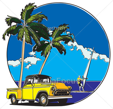 Vector Badge On Theme Hawaiian Summer, Executed In Retro Print Style With Colors Misregistration Effect. Easily Edit: File Is Divided Into Logical Layers And Groups. File Doesn't Contains Gradients, B Stock Photo