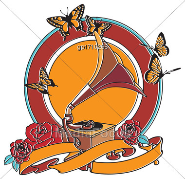 Vector Badge On Theme Of Music, Executed In Retro Print Style With Colors Misregistration Effect. Easily Edit: File Is Divided Into Logical Layers And Groups. File Doesn't Contains Gradients, Blends,  Stock Photo