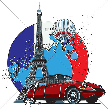 Vector Badge On Theme Of Paris, Executed In Retro Print Style With Colors Misregistration Effect On The Background In National Color Of French. Easily Edit: File Is Divided Into Logical Layers And Gro Stock Photo