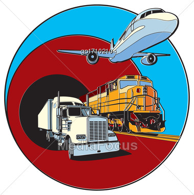 Vector Badge On Transportations Theme, Executed In Retro Print Style With Colors Misregistration Effect. Easily Edit: File Is Divided Into Logical Layers And Groups. File Doesn't Contains Gradients, B Stock Photo