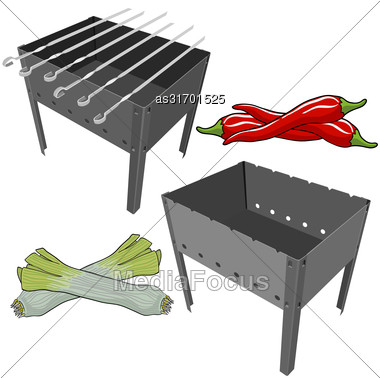 Vector Black BBQ Grill With Onions And Red Pepper On White Background Stock Photo
