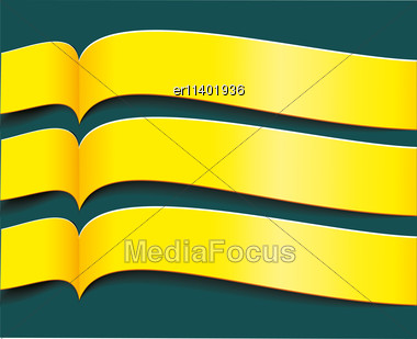 Vector Bright Yellow Banners Or Ribbons Set Stock Photo