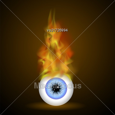 Vector Burning Blue Eye With Fire Flame On Dark Background Stock Photo