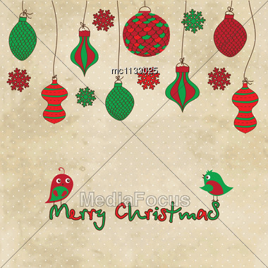 Vector Card With Christmas Balls And Toys On Vintage Background Stock Photo